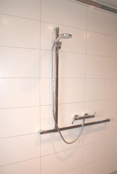 Bodengleiche Dusche mit verchromten Haltegriffen und